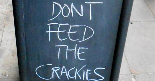 Brick Lane Coffee make total twats of themselves with Don't Feed The Crackies sign