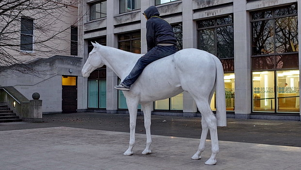 Do NOT climb on the White Horse on the Mall, London