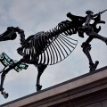 A skeletal horse with a live stock market feed takes over Trafalgar Square's fourth plinth