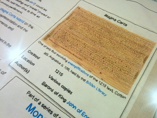 Magna Carta (An Embroidery) at the British Library, celebrates the 800th anniversary of Magna Carta
