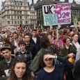 Tens of thousands of protesters filled the streets of central London today to protest against the government's austerity measures.