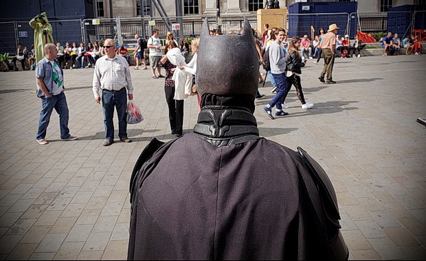Batman, a high-rise unicyclist and an alcoholic confession: scenes around Trafalgar Square, London