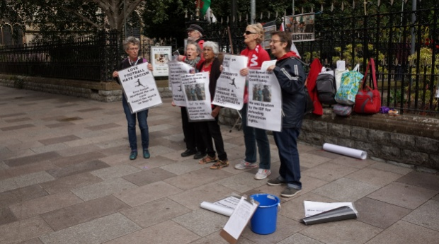 Fair Play for Palestine - activists protest ahead of Wales vs Israel UEFA Championship match, 6th Sept, 2015