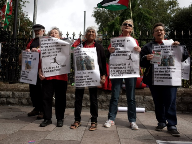 Fair Play for Palestie - activists protest ahead of Wales vs Israel UEFA Championship match, 6th Sept, 2015