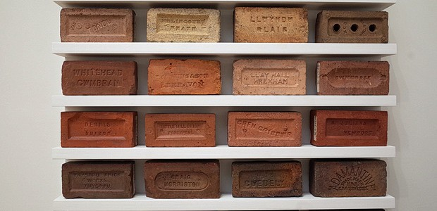 I loved this simple and small exhibition at theNational Museum of Wales in Cardiff. Entitled, 'Twenty Four Bricks,' the display features a selection of Welsh-fired bricks arranged on sixshelves.