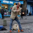 Big on enthusiasm but perhaps a little wanting in the skill and entertainment departments, this tenacious street busker was seen in action in Edinburgh on Monday afternoon.