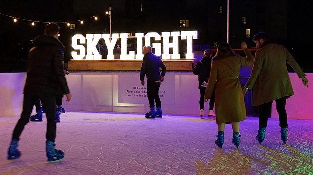 Rooftop skating, booze, fondue and Gus's wonderful roasted chestnuts at Skylight, Tobacco Dock, Wapping, London