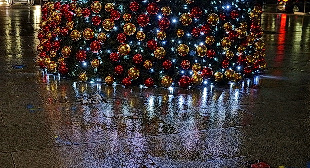 Christmas rain - Soho lights reflected in the pavements, Dec 2017