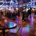 Empty chairs, rainy-soaked tables and the last of the Christmas lights, Cardiff in photos, 2nd Jan 2018