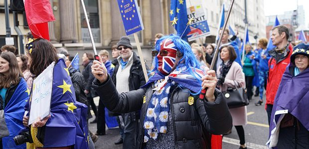 Thousands of people marched through central Leeds on Saturday afternoon in protest against Britain leaving the European Union.