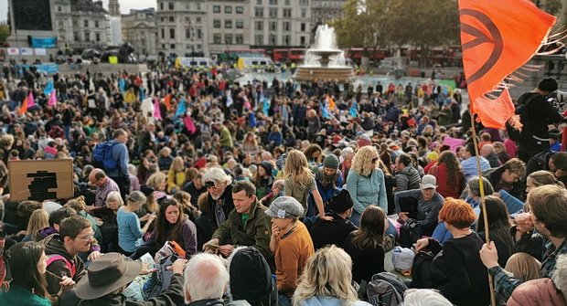 In photos: Extinction Rebellion activists defy protest ban and pack out Trafalgar Square, 16th Oct 2019
