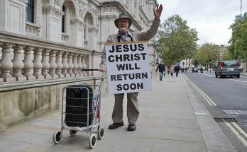 In photos: the arms-aloft street preacher with a speaker in a shopping trolley, Whitehall, London, Sat 17th Oct 2020