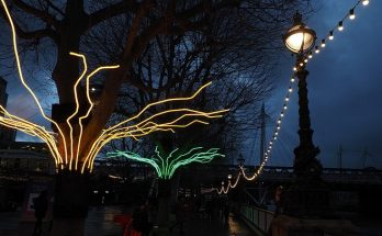 Neon art against a December sky: Winter Light at the Southbank Centre - in photos