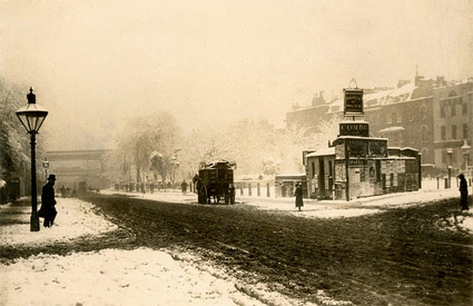 Winter scene onBrixton Road, central Brixton, Brixton Road, 1870s
