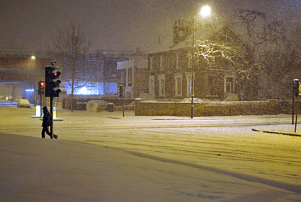 A snowy night in Brixton, Lambeth, London SW9 - scenes on Electric Avenue, Coldharbour Lane, Gresham Road, 2nd February 2009