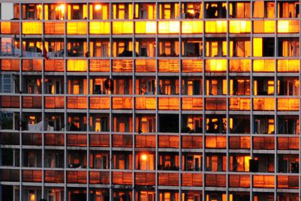 Barrington Road tower block sunset