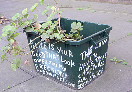 Slogans on Police Plant Pots