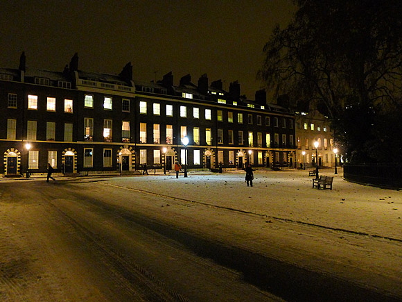 Photos of the beautifully preserved Georgian town square of Bedford Square, Bloomsbury, London in the snow, December 2010.