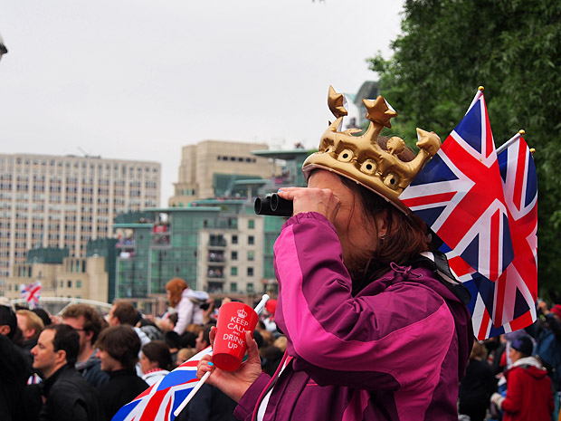 The Queen's Diamond Jubilee flotilla on the River Thames, central London, England, Sunday 3rd June 2012