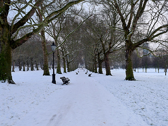 Photos of Green Park and Hyde Park and the Winter Wonderland, central London, covered in snow, 20th December 2010