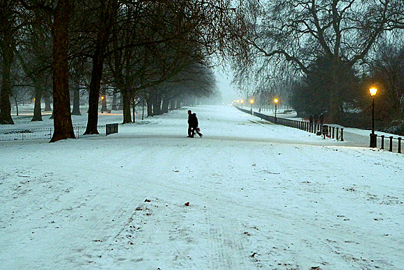 Hyde Park snow scenes - frozen Serpentine lake, snow covered park and other winter photographs, central London 9th January 2010