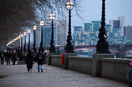 Walking along the south bank of the Thames.