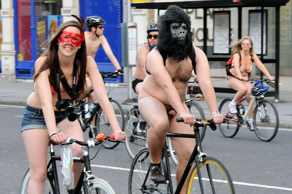 London Naked Bike Ride 2011 through central London from Hyde Park, Saturday June 11th 2011