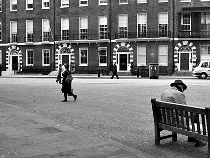 Man with a hat, Bedford Square.