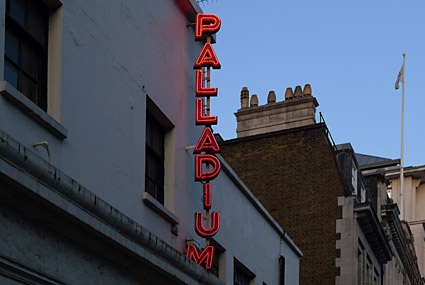 Palladium theatre neon sign, London, photos and feature, Feb 2009