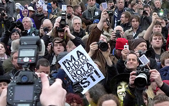 I'm a Photographer, Not a Terrorist! - UK photographers protest against increasing police harassment, Trafalgar Square, 23rd January 2010