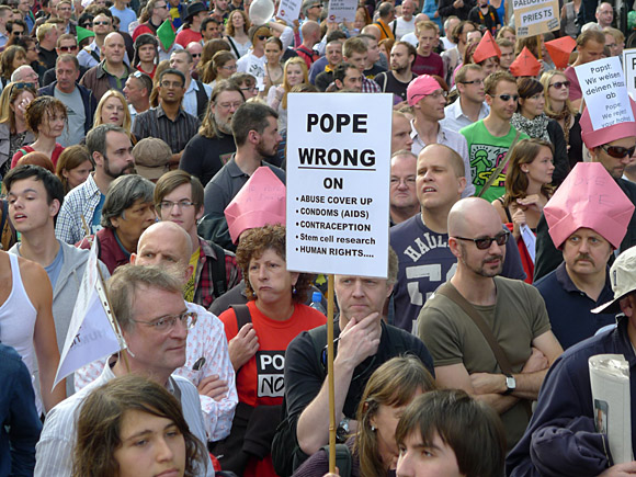 Photos of the Protest The Pope march through central London, 18th September 2010