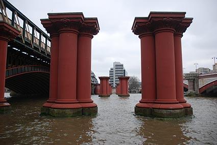 Thames Side Walk Taking In Blackfriars Bridge London