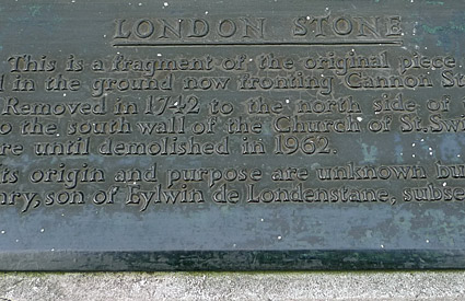 The London Stone, Cannon Street, City of London, England