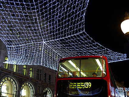 Christmas decorations, central London, West End, Soho and Covent Garden, 2008
