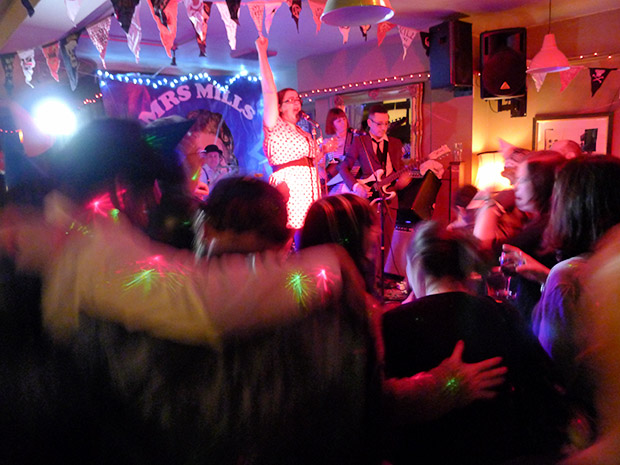 Thursday, 18th April 2013, Music hall with The Mrs Mills Experience at the Offline Club at the Prince Albert, 418 Coldharbour Lane, Brixton, London SW9, with DJs playing ska, electro, indie, punk, rock'n'roll, big band, rockabilly and skiffle