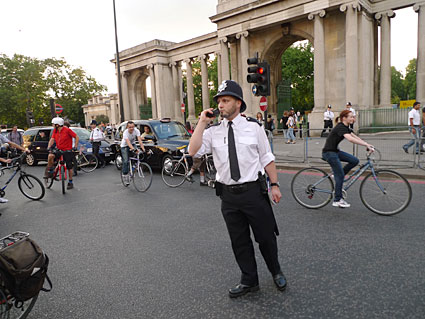London Critical Mass bike ride from Waterloo through central London, 26th June 2009