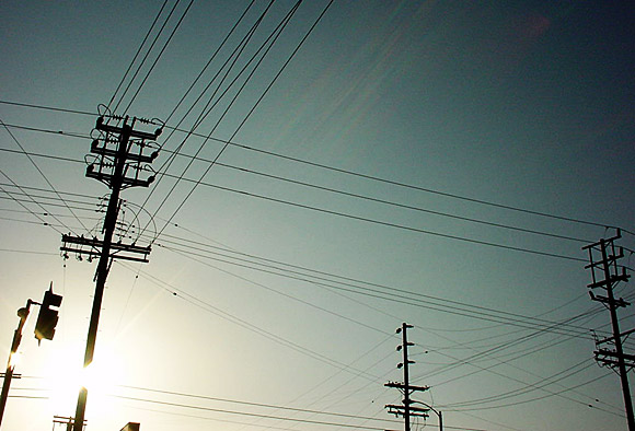 Los Angeles: roads, sun and telephone wires