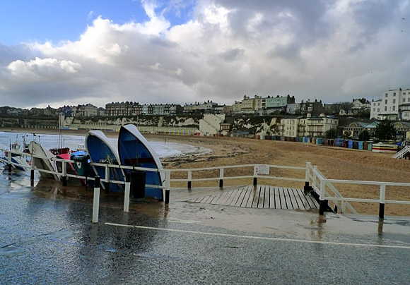 Broadstairs in the rain - a winter's walk along the seafront of the south eastern English seaside resort in Kent, November, 2009