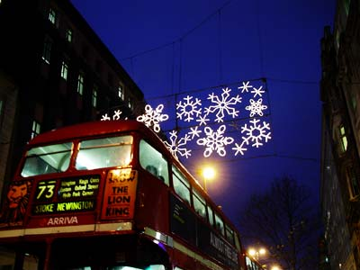 lights and bus, Oxford Street, London