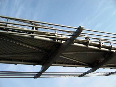 The bridge cables dip below the deck at midspan enabling unimpeded views of London, Millennium Bridge, London