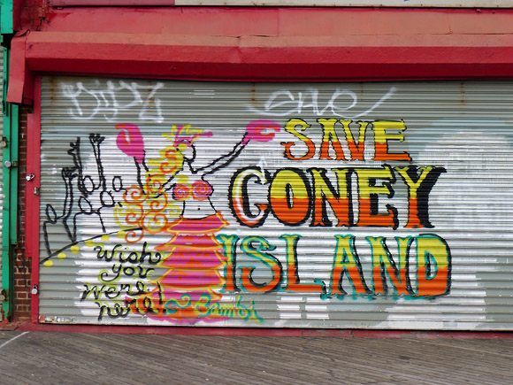 Coney Island and Brighton beach, southern Brooklyn, New York, United States with photos of the boardwalks, amusement park, pier, funfair rides, shopfronts and beach