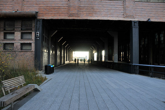 Photos of the High Line, a green park running on the West Side Line elevated railroad, Manhattan, New York, NYC