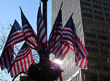 American flags, stars and stripes on the streets of New York - photographs and feature