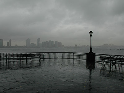 Empty park benches and rain, Battery Park, Lower Manhattan, New