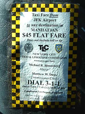 $45 Flat Fare, New York taxi cab to Manhattan, New York