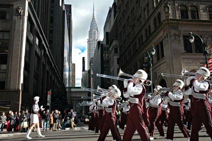 Marching band, Nation's Parade, Veteran's Day Parade, 5th Avenue, Manhattan, New York, NYC, November 2005