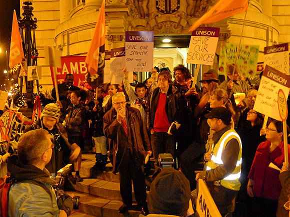 Brixton Fight the Cuts protest outside Lambeth Town Hall, Monday 7th Feb 2011