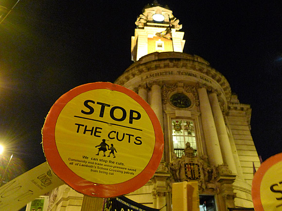 Brixton Fight the Cuts protest outside Lambeth Town Hall, Wednesday 23rd Feb 2011