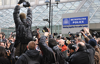 Photographers protest against Section 76, Scotland Yard, London, 16th Feb 2009