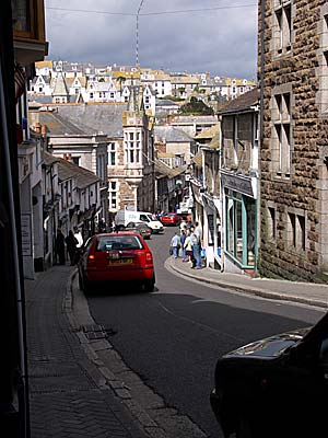 Looking down Tregenna Hill, St Ives, Cornwall, April 2004